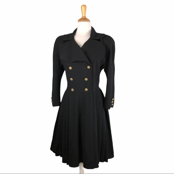 Christian Lacroix Wool Pleated Coat w Gold Buttons