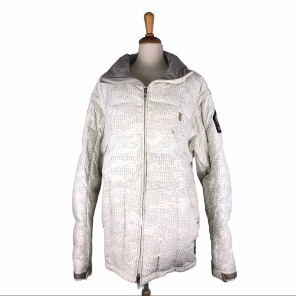 DC White Down Winter Coat w Gray Currency Symbols