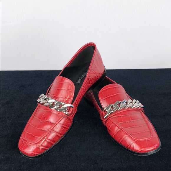 Jeffrey Campbell Red Croc Loafers w Silver Chain