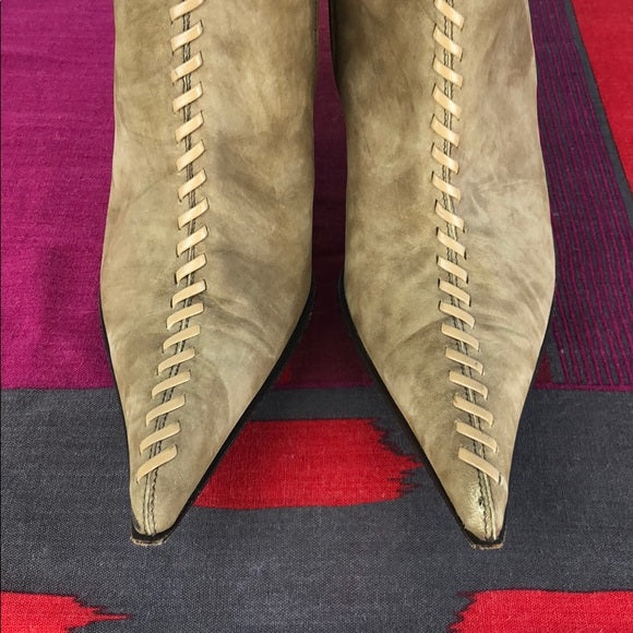 Vicari Suede Tan Lace Front Heeled Boots