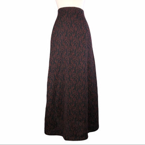 The Peruvian Connection Black/Maroon Alpaca Skirt