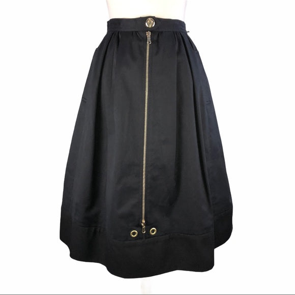 Valentino Black Pleated Gold Zip-Front Skirt