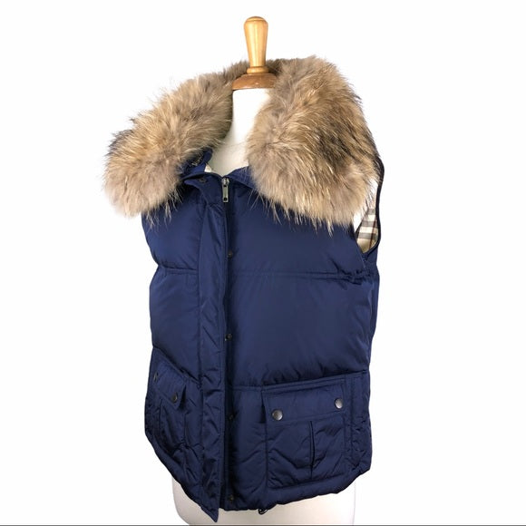 Burberry Blue Puffer Vest w Fur Collar