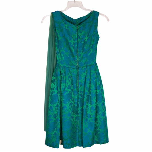 Vintage Green & Blue Silk Dress w Scarf attached