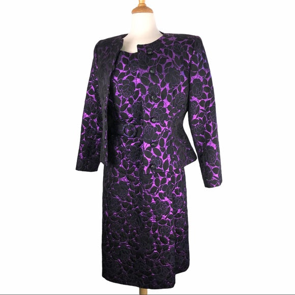 Vintage Scaasi Purple Brocade Dress & Jacket Set