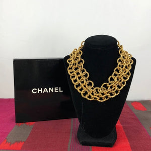Vintage Chanel Triple Strand Chain Link Necklace