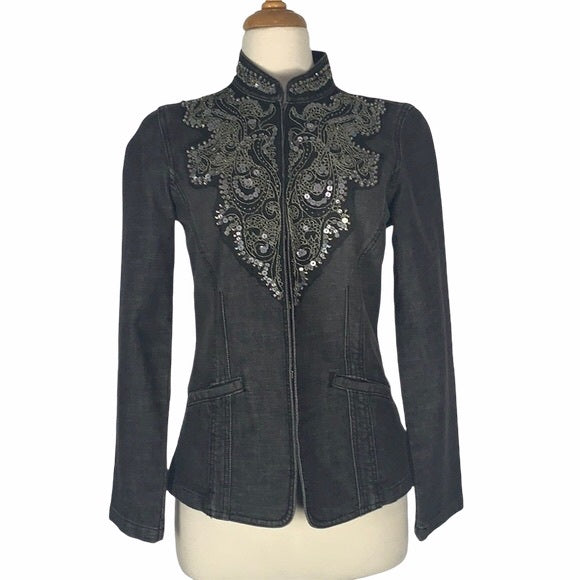 Chicos Jean Jacket with Silver and Gold Beeding