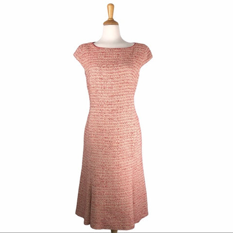 MaxMara Red & Cream Tweed Cap Sleeve Dress