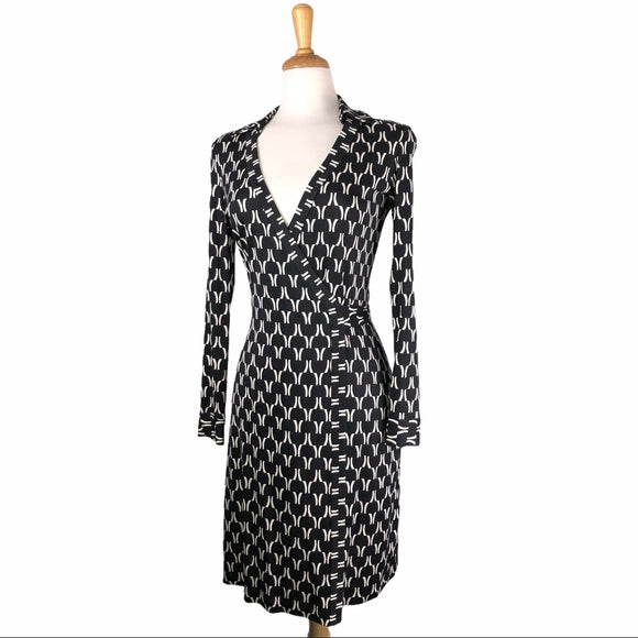 Diane Von Furstenberg Black Print Silk Wrap Dress