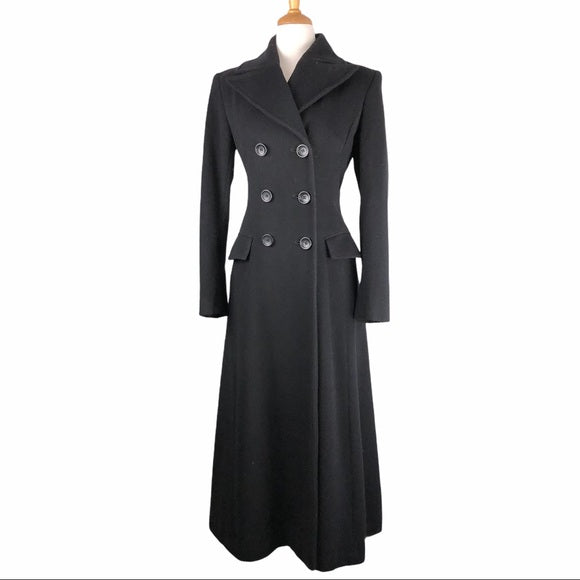 H&M Black Full Double Breasted Wool Blend Pea Coat
