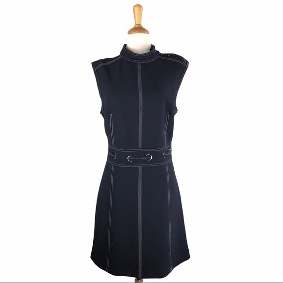 Veronica Beard Navy w White Pipping Belted Dress