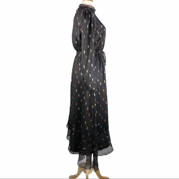 Kathie K Black High Neck w Gold Print Assym Dress