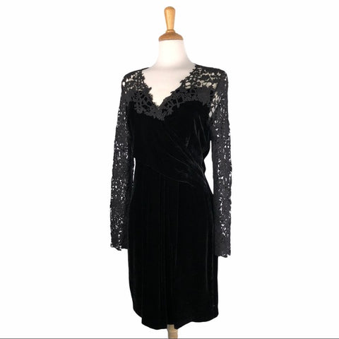 Elie Tahari Black Velvet & Lace Dress