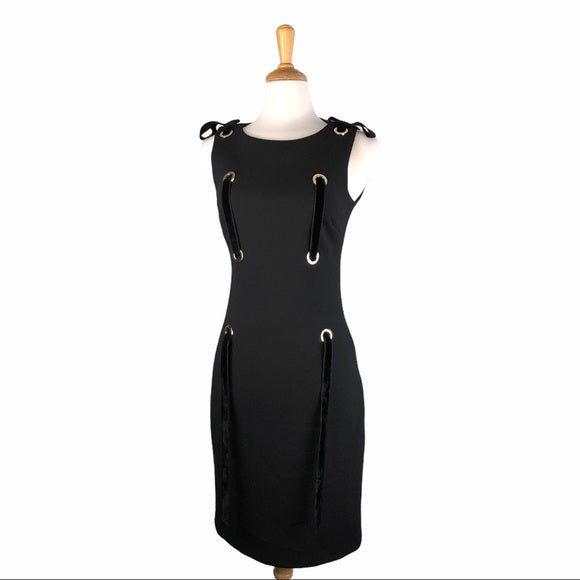 Badgley Mischka Black Velvet Ribbon Lacing Dress