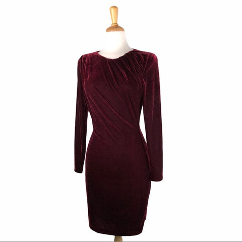 Reiss Maroon Velvet Ruched Top Dress