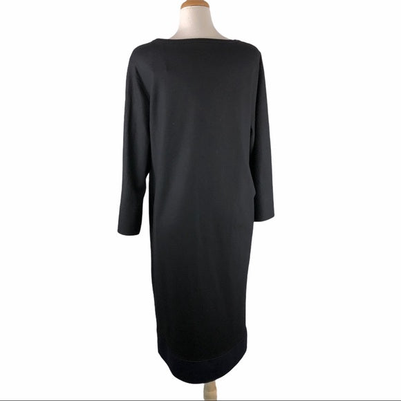 Eileen Fisher Black Wool Dress w Dark Blue Hem