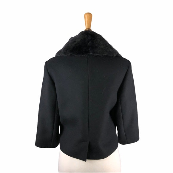 Cacharel Black Wool Blend Jacket w Fur Trim