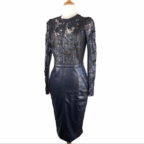Byron Lars Blue Leather & Flower Embroidered Dress