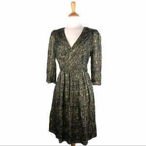 Hoss Black & Green Print Silk Dress