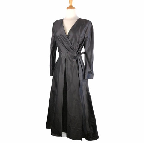 MaxMara Black Silk Tessuto Wrap Dress