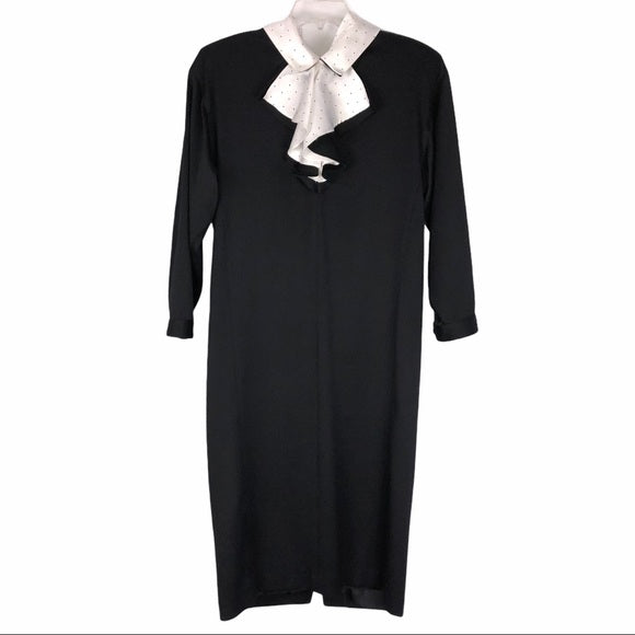 Cacharel Vintage Black White PolkaDot Collar Dress