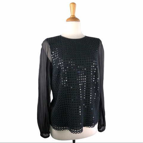 Tory Burch Black Sequin Front Blouse