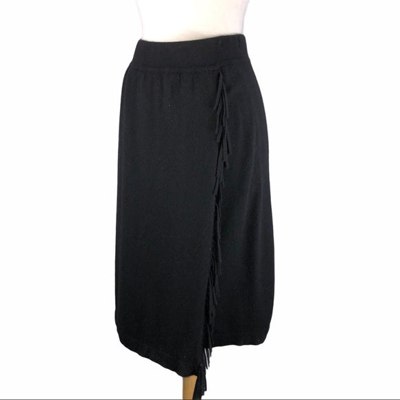 William Kasper Black Cashmere Fringe Skirt
