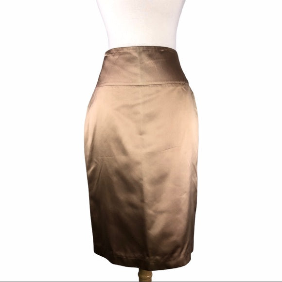 Carolina Herrera Champagne Gold Satin Skirt