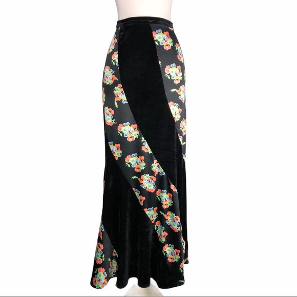 Free People Black Velvet & Floral Print Maxi Skirt