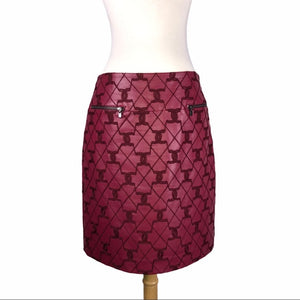 W by Worth Red Embroidered Faux Leather Skirt