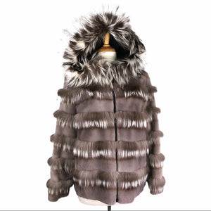 Gray Sheared Mink w Fox Trim & Hood