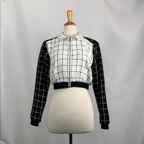 BCBG Tweed Cropped Bomber Black and White