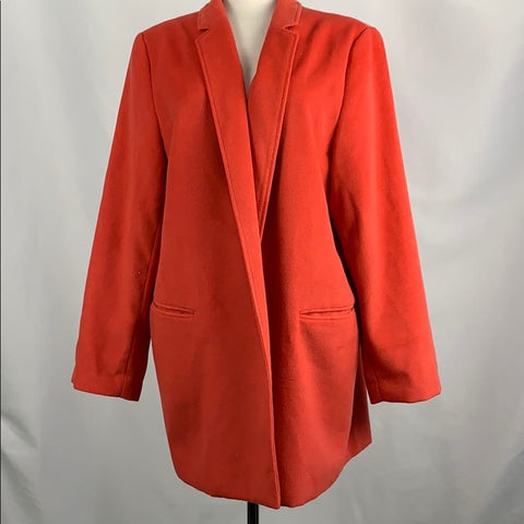 Chicos Orange Blazer with Animal Print Lining