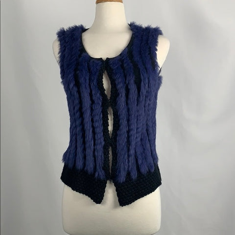 Ravelsberg Purple Woven Fur and Knit Vest
