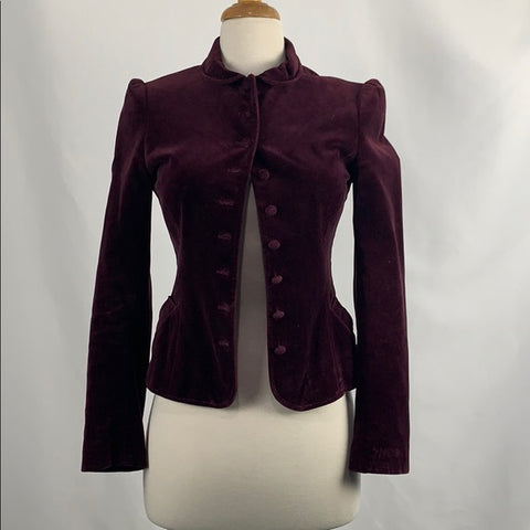 Vintage Paul Costeloe Maroon And Velvet Jacket