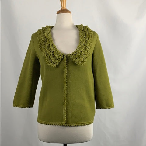 Green Vintage Cardigan with Crochet Colllar