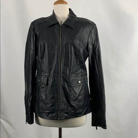 Dennis Basso Faux Leather Jacket