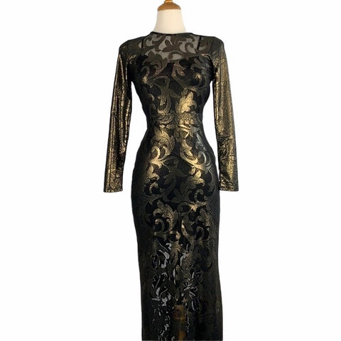 Gold and Black Long Sleeve Brocade Dress