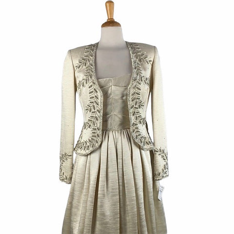 NEW Victoria Royal Beaded Silk Dress with Jacket