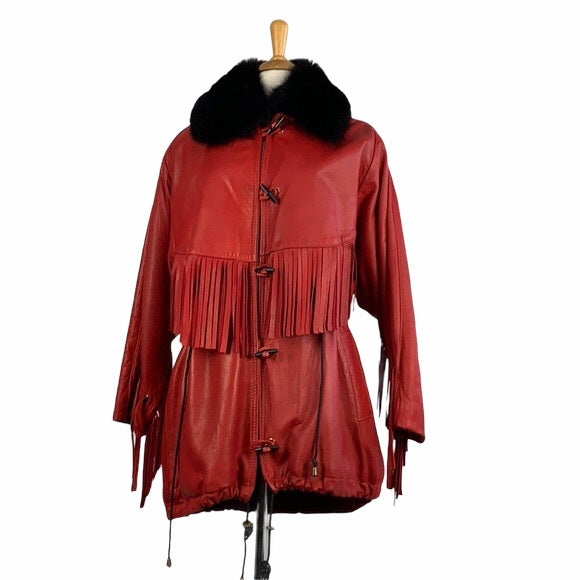 Vintage Cache Red Leather Fringe Jacket with Fox