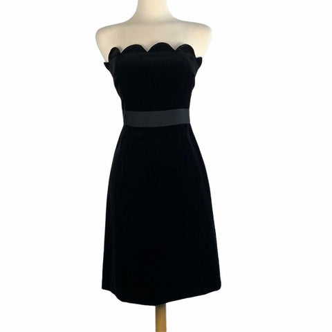 MILLY Black Velvet Strapless Cocktail Dress