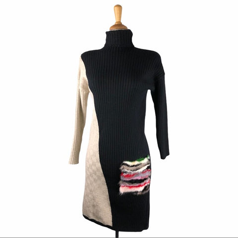 Black & Tan Knit Dress w Multi Colored Faux Pocket