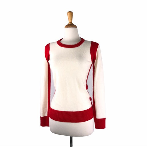 Madeleine Thompson White & Red Cashmere Sweater