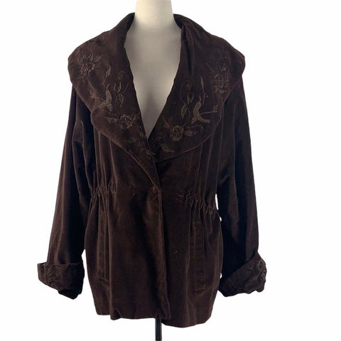 Vintage Brown Jacket with Embroidered Collar