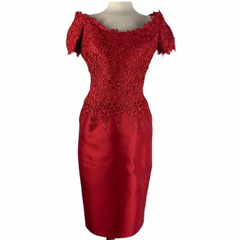 HelenMorely Red Lace Beaded Cocktail Dress