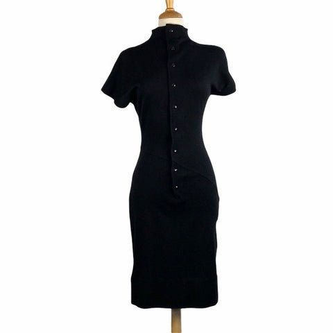 Claude Montana Vintage Black Wool Dress