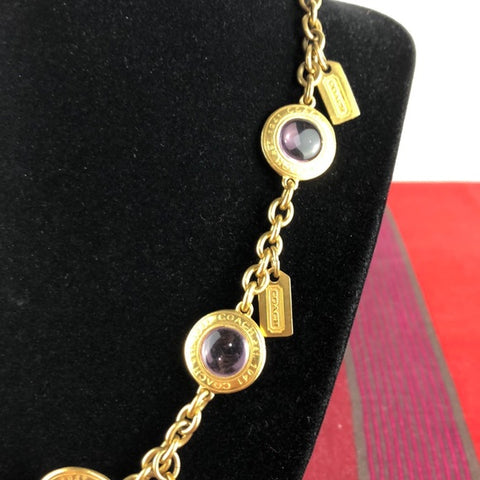 Coach Gold Lilac Circles & Tag Charms Necklace