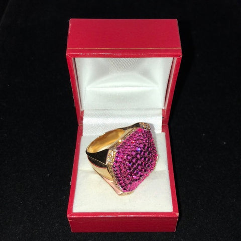 Judith Leiber Pink Sparkly Square Ring