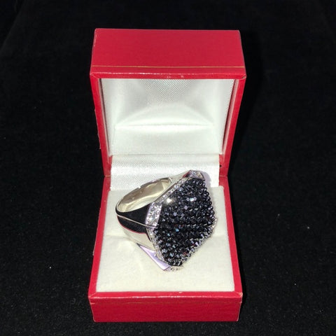 Judith Leiber Black Sparkly Square Ring