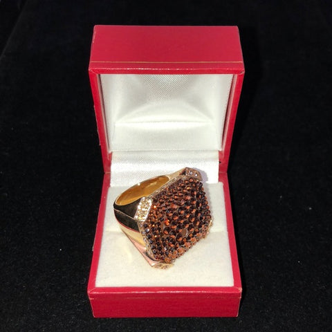 Judith Leiber Amber Sparkly Square Ring
